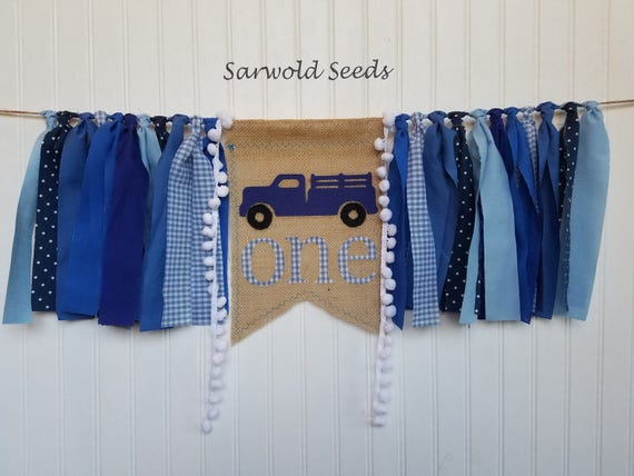 Little blue truck blue burlap age fabric banner birthday for Little blue truck fabric
