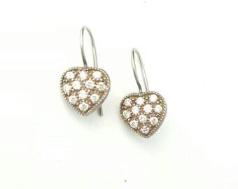 Cute Vintage Sterling Silver and Clear Gemstone Heart Dainty Dangle Earrings