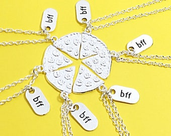 Set of 6 bff necklace, bff charm, bff necklace, set of 6 best friend,no matter where bff,personalized,customized,initial keychain, bff gift