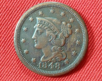 Vintage Large Cent 1848 Braided Hair Large One Cent Copper Penny