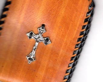 Tan Rosary Pouch with Crucifix