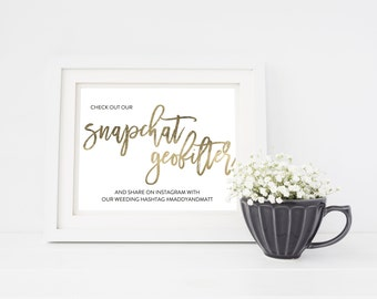 Wedding Sign Template   Snapchat Geofilter Sign   Wedding Sign   Printable Wedding Sign   5x7 & 8x10   EDN 5439