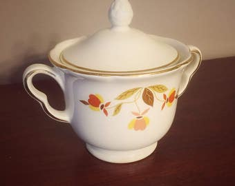 Vintage Hall's Superior Autumn Leaf Ruffled Sugar Bowl with Lid