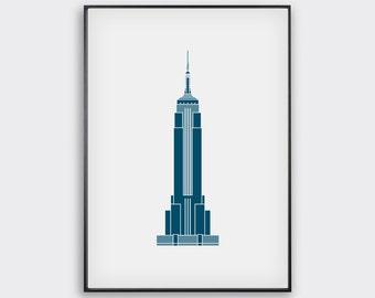 Empire State Building, Minimal, New York Print / New York Artwork