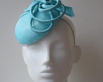 Turquoise Button Hat - Turquoise Headpiece -  Fascinator - Hatinator - Pillbox Hat - Percher Hat - Wedding Hat - Ascot Hat - Island Paradise