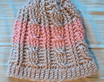 Pink and Gray Cabled Beanie