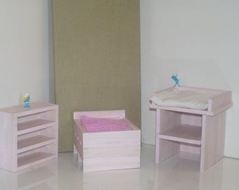 TO order - bedroom furniture baby wooden painted and varnished for Barbie doll