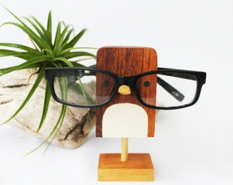 Wood Bird Eyeglass Stand with Wooden Base