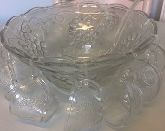 Vintage glass punch bowl set