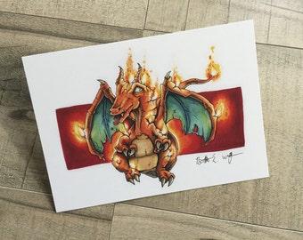 Charizard on Fire - 5x7 Print