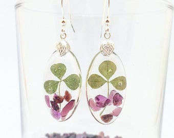 Pressed clover earrings, Real plant jewelry, Garnet earrings, Gemstone sterling earrings, Good luck wish, Gift for sister, Red gemstones