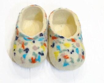 Kids Slipper Felt Slipper Wool Slippers Child Slippers Winter Slipper Warm Slipper Woolen Slipper Felted Slipper Baby Slippers White Slipper