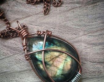 Wrapped Labradorite Necklace. Copper Wrapped Labradorite Pendant.
