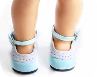 """18"""" Inch Doll Size Shoes ~ Blue and White Saddle Shoes - Mary Janes ~ American Girl Clothing"""
