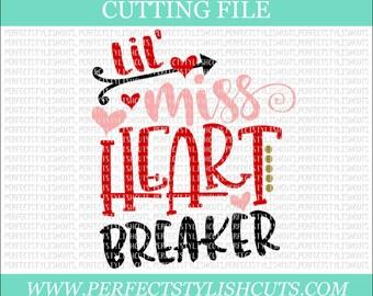 Lil Miss Heart Breaker - Valentines Day SVG, DXF, PNG, Eps Files for Cameo or Cricut - Valentine Svg, Girl Valentine Svg, Love Svg