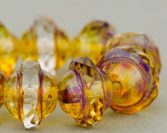Saturn Beads - Saucer Beads - Czech Glass Beads - Crystal Transparent with Picasso Finish - 8x10mm Beads - 10 Beads