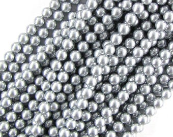 "7mm silver shell pearl round beads 16"" strand 19572"