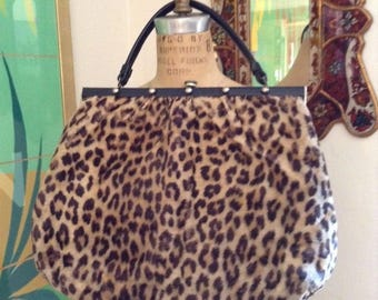 Vintage 1950s Faux Leopard Brass Studs Cheetah Animal Print Fur Handbag Purse Large Bag