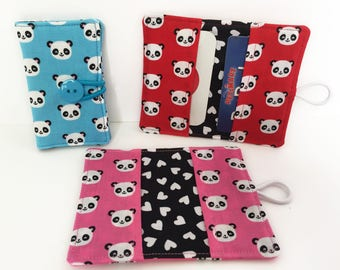Card Wallet - Card Holder - Pandas - Fabric Card Holder - Card Holder Wallet - Business Card Holder - Credit Card Holder - Panda Bears