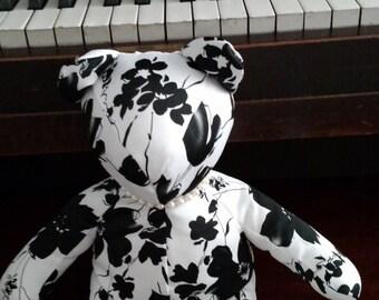 Satin Black/White with pearls, Homemade bear, Teddy Bear, Decorator Bear