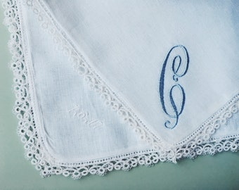 Baby Boy Handkerchief - Future Wedding Handkerchief - Monogram