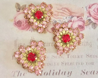 2 vintage swarovski light rose pink and red siam crystal hearts in brass setting #642b-10
