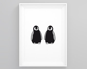 "Illustration ""Pingouins"" Print"