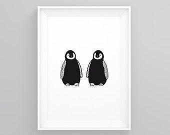 Penguins Poster Print - Black and White Illustration
