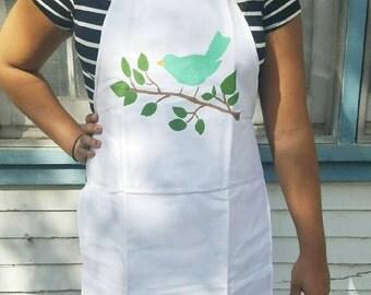 Bird on a branch apron