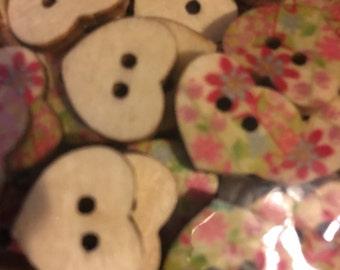 25 pcs Wooden Heart Buttons  B36