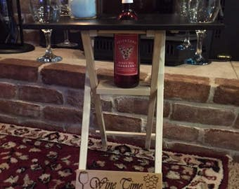 EXTRA TALL 4 Glass Wine Caddy Folding Table, Travel Wine Carrier, Wine Server, Wine Table Cutting Board, Outdoor Picnic Wine Table