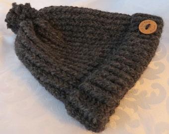Medium Hand Knit Toque / Charcoal Black Toque / Black Hand Knit Hat / Winter Hat / Warm Hat / Chunky Knit Toque / Adult-Teen Hat - MHat105