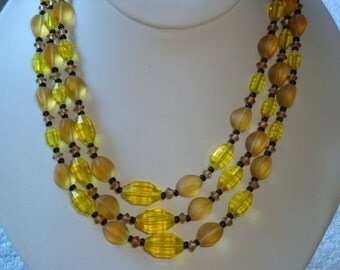 Vintage Yellow Glass 3 Strand Necklace - Germany