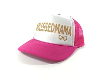 Le Bow Couture #BLESSEDMAMA Trucker Hat-Gold/White/Hot Pink (Adult)