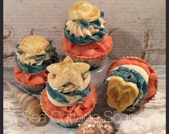 Sun and Sand Artisan Cold Process Cupcake Soaps-Vegan, Avocado Oil
