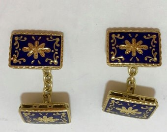 18k gold and blue enamel cufflinks. 14mm x 10mm. Marked IW869, 750. 11.1g