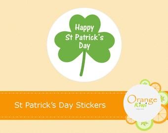 St Patrick's Day Stickers, St Patrick's Day Party Favor Treat Bag Stickers, St Patrick's Day Cupcake Toppers, Green Shamrock St Patty