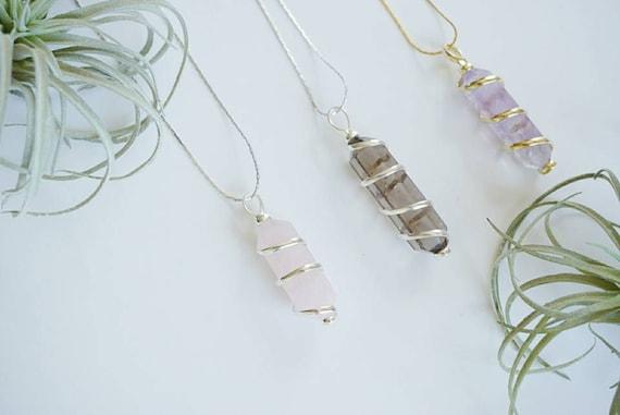 Spiral Wrapped Pendants - Amethyst - Quartz - Rose Quartz - Smoky Quartz - Necklace - Jewelry - Crystal - Natural - Bohemian