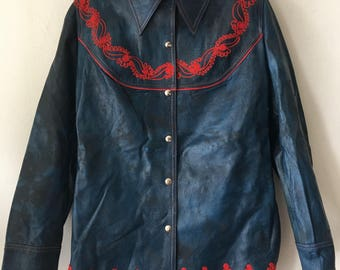 Real spring leather jacket-shirt soft & genuine stylish jacket, vintage mid length modern shirt casual style women's blue size-medium (6-8).