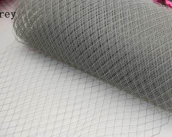 "9"" birdcage veil, grey Russian veil, French veil, grey millinery veil, grey veiling, millinery supplies, netting, hat trim, craft"