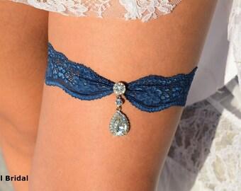 Blue Garter, Wedding Garters, Blue Garter Set, Blue Lace Garter, Bridal Garter, Wedding Garter Set, Rhinestone Garters, Something Blue, Teal