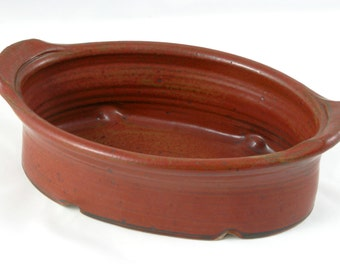 Long Red Baking Dish, Wheel Thrown Oval Baker