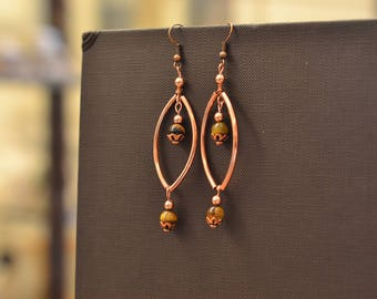 Tiger eye beads and copper earrings