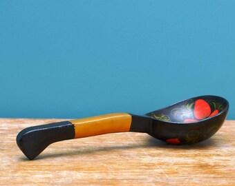 Big Khokhloma wooden spoon , Handpainted spoon , Soviet Vintage Wooden Spoon , Russian folk art ,  Russian souvenir