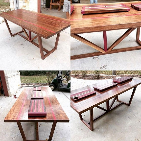 Items similar to black walnut purple heart wood dining for Dining room tables etsy