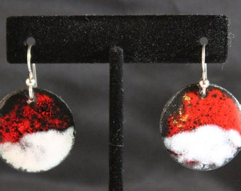 Red and White Enameled Earrings 022017-033)