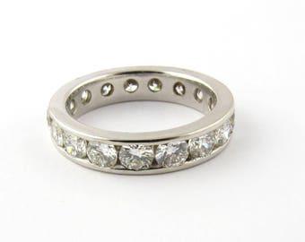Vintage 14K White Gold Diamond Eternity Band Size 5.5 #750