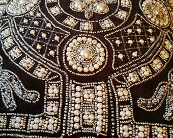 Pearl (faux) beaded pillow, clean new insert