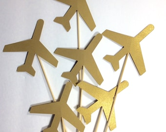 """Shiny gold Airplane Table decor on 12"""" skewers, Centerpiece, decorative accessory, birthday decor, baby shower decor, 12 per order"""