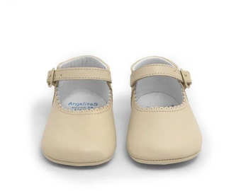 Beige Leather Mary janes Mereceditas baby shoes,Infant Booties, mary jane shoes